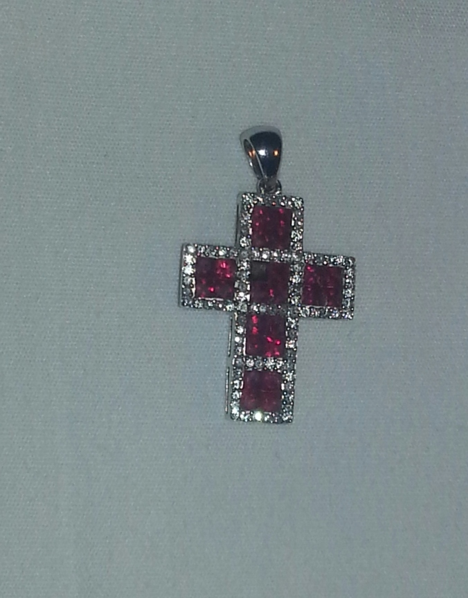 Ruby Cross 1.30 ct in White Gold 14kt